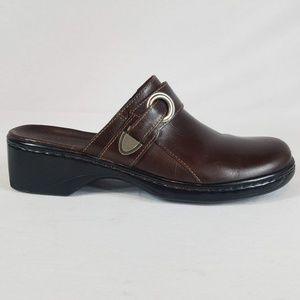 Clarks Slip On Leather Mules Strap Detail 7.5M